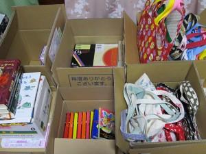 「宮城県の子供たちへ」 本とバッグ